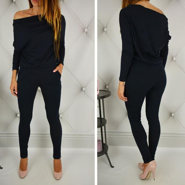 Womens Stylish Jumpsuit Overalls Long Sleeve Casual Rompers Summer