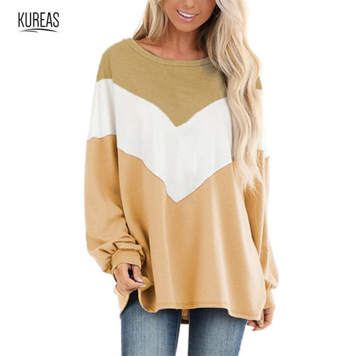 Womens T Shirt Long Batwing Sleeves Casual Tops Fashion Patchwork Female Knitted T Shirts-Home-Kureas Official Store-Blue-S-EpicWorldStore.com