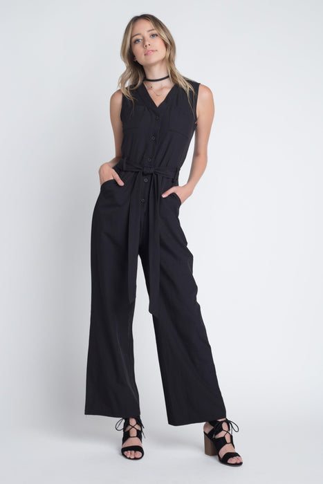 Womens Tie Sleeveless Buttoned Jumpsuit-Women's Fashion Apparel-Marcelle Margaux-Black-Medium-EpicWorldStore.com