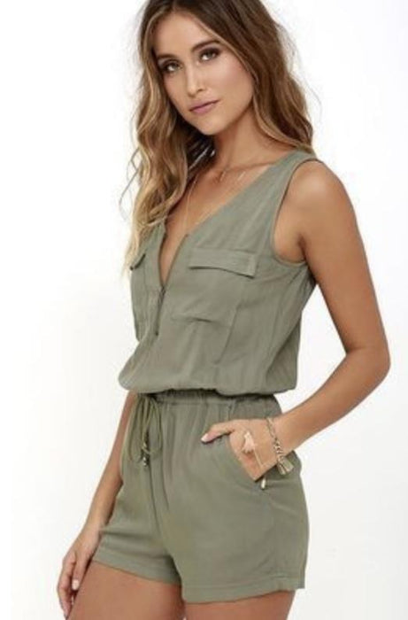 Womens Zip Front Sleeveless Romper-Women's Fashion Apparel-Marcelle Margaux-Olive-Small/Medium-EpicWorldStore.com