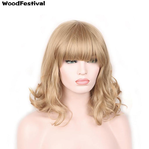 Woodfestival Dark/Light Brown Black Blonde Heat Resistant Curly Synthetic Wigs With Bangs Short Hair-WoodFestival synthetic hair wigs Store-Natural Black-EpicWorldStore.com