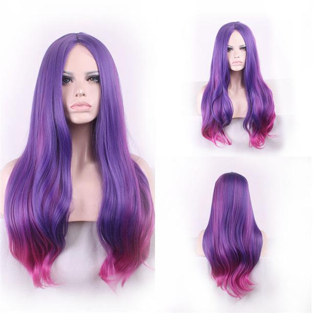 Woodfestival Long Straight Hair Blonde Wig Purple Cosplay Wigs For Women  Heat Resistant Synthetic-WoodFestival d4b8d0f99