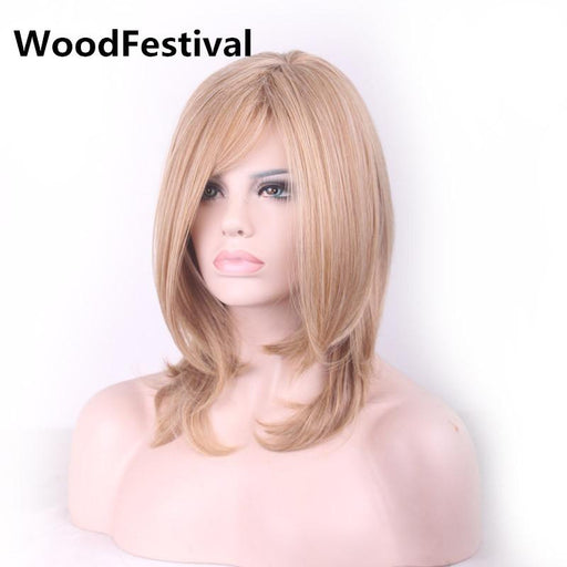 Woodfestival Medium Length Blonde Wig Cosplay Women Heat Resistant Fiber Synthetic Wigs Straight-WoodFestival synthetic hair wigs Store-EpicWorldStore.com