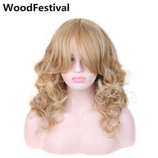 Woodfestival Women Heat Resistant Synthetic Wigs Long Blonde Wig Cosplay Blond Wavy Wig With Bangs-WoodFestival synthetic hair wigs Store-EpicWorldStore.com