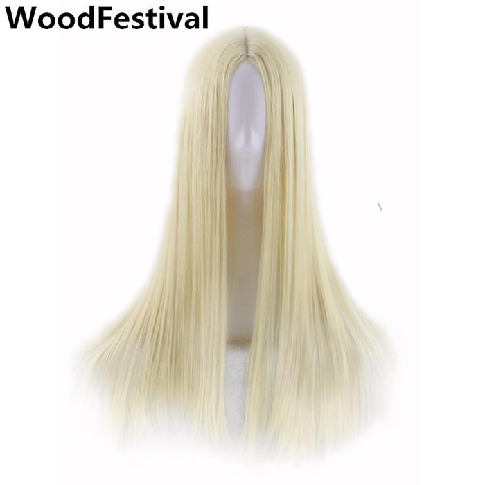 Real Picture Woodfestival Cosplay Hair Wig Black Brown Long Straight Wig Bangs Synthetic Wigs Women Heat Resistant Synthetic None-lacewigs Synthetic Wigs
