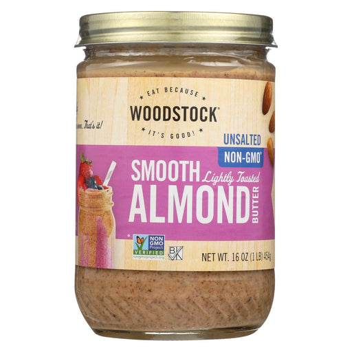 Woodstock Almond Butter - Lightly Toasted - Unsalted - 16 Oz.-Eco-Friendly Home & Grocery-Woodstock-EpicWorldStore.com