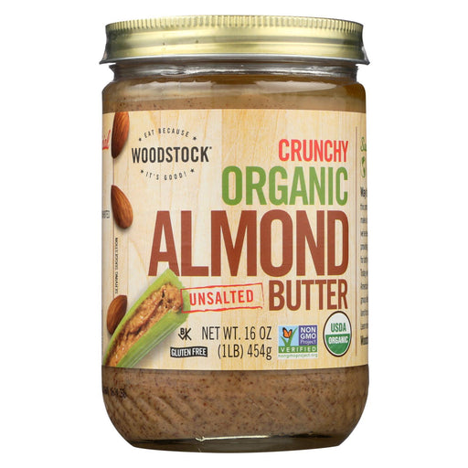 Woodstock Organic Almond Butter - Crunchy - Unsalted - 16 Oz.-Eco-Friendly Home & Grocery-Woodstock-EpicWorldStore.com