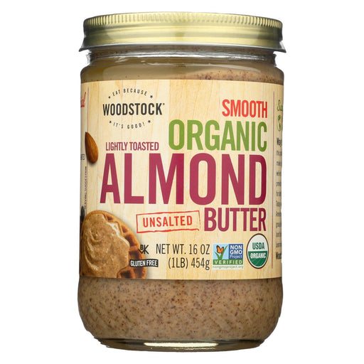 Woodstock Organic Almond Butter - Lightly Toasted - Unsalted - 16 Oz.-Eco-Friendly Home & Grocery-Woodstock-EpicWorldStore.com