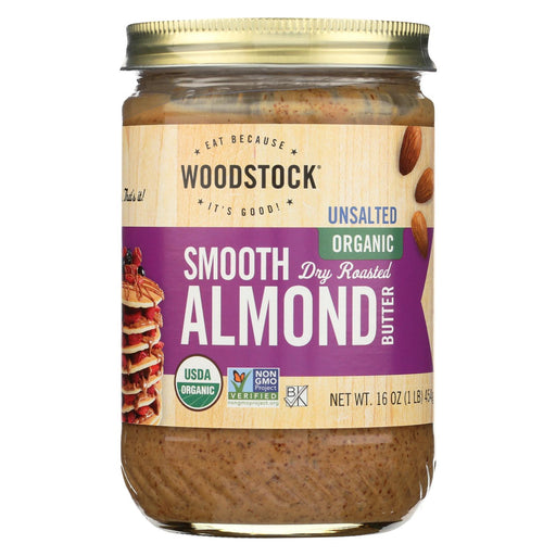 Woodstock Organic Almond Butter - Smooth - Unsalted - 16 Oz.-Eco-Friendly Home & Grocery-Woodstock-EpicWorldStore.com
