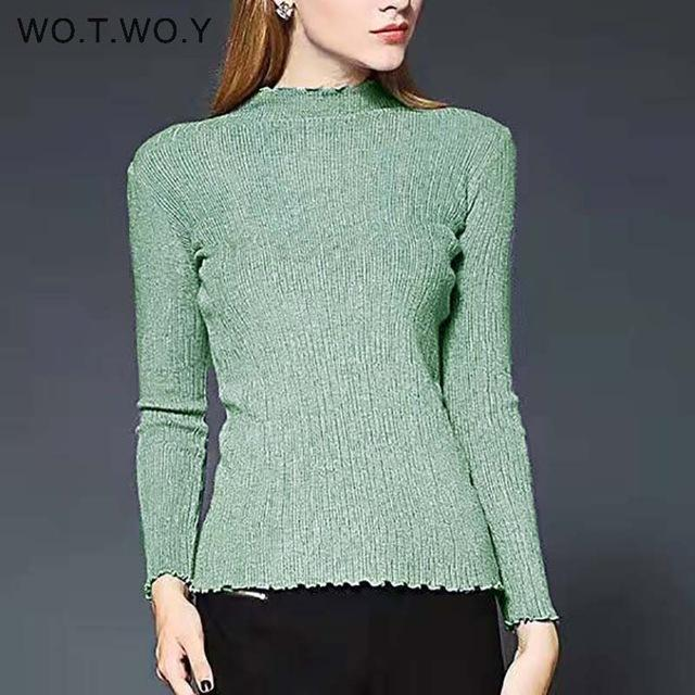 Wotwoy Long Sleeve Turtleneck Bottoming Sweaters Women Solid Basic Pullovers Slim Fit Knitwear-Jackets & Coats-WO.T.WO.Y Official Store-T7113Green-EpicWorldStore.com