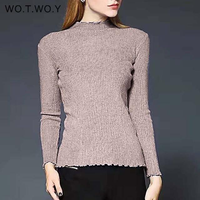 Wotwoy Long Sleeve Turtleneck Bottoming Sweaters Women Solid Basic Pullovers Slim Fit Knitwear-Jackets & Coats-WO.T.WO.Y Official Store-T7113Khaki-EpicWorldStore.com