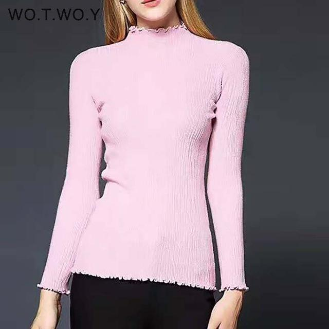 Wotwoy Long Sleeve Turtleneck Bottoming Sweaters Women Solid Basic Pullovers Slim Fit Knitwear-Jackets & Coats-WO.T.WO.Y Official Store-T7113Pink-EpicWorldStore.com