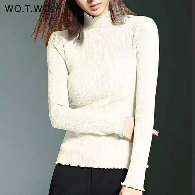 Wotwoy Long Sleeve Turtleneck Bottoming Sweaters Women Solid Basic Pullovers Slim Fit Knitwear-Jackets & Coats-WO.T.WO.Y Official Store-T7113White-EpicWorldStore.com