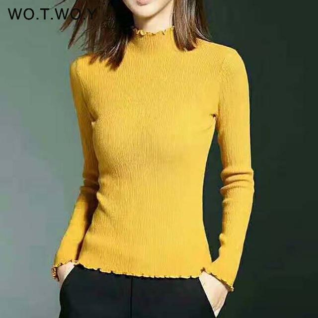 Wotwoy Long Sleeve Turtleneck Bottoming Sweaters Women Solid Basic Pullovers Slim Fit Knitwear-Jackets & Coats-WO.T.WO.Y Official Store-T7113Yellow-EpicWorldStore.com