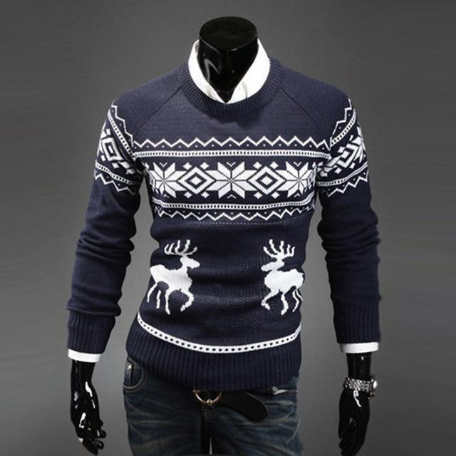 Christmas Sweaters For Men.X Mas Sweaters Male Men O Neck Long Sleeve Cotton Christmas Sweater With Deer Pattern