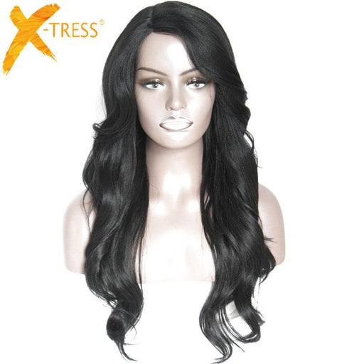 X-Tress Heat Resistant Synthetic Wigs For Black Women Ombre Natural Long Wavy Hair Wig With Bangs 30-x-tress Hair Products Co; Ltd. Store-Bug-EpicWorldStore.com