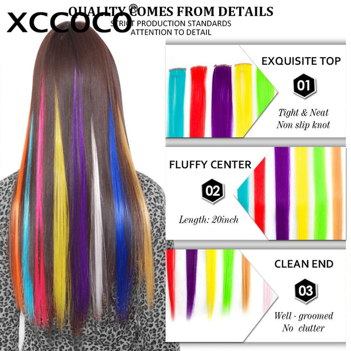 Xccoco 1 Piece 1 Clip In Synthetic Hair Extensions 10 Colors 50cm