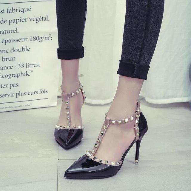 Xda New Woman High Heels Shoes Ladies Stylish Pointed Toe Women Pumps  Buckle Rivets Nude Heels