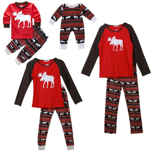 Xmas Moose Fairy Christmas Family Pajamas Set Adult Kids Sleepwear Nightwear Pjs Photgraphy Prop-Family Matching Outfits-Wonderland Store-Mama XS-EpicWorldStore.com