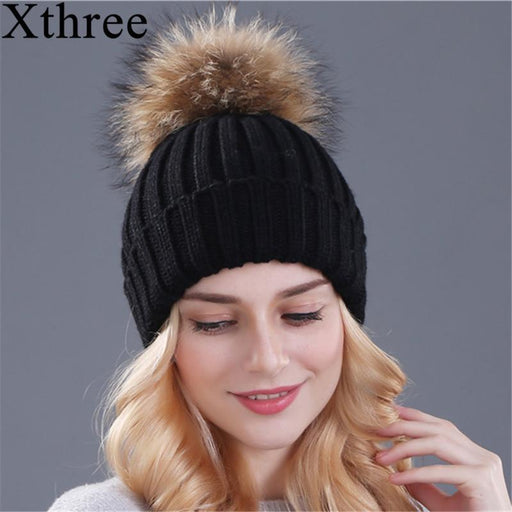 cc6f35950 Xthree Mink And Fox Fur Ball Cap Pom Poms Winter Hat For Women Girl 'S Hat  Knitted Beanies Cap Brand