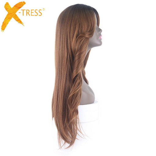 "Xtress Heat Resistant Synthetic Wigs For Women Natural Long Straight With Bangs 30"" Ombre Hair Black-x-tress Hair Products Co; Ltd. Store-Bug-EpicWorldStore.com"