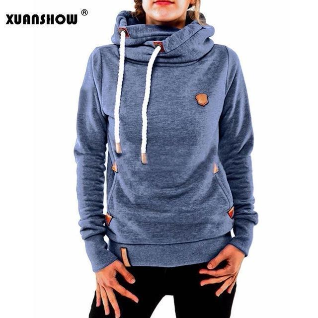 Xuanshow Winter Hoodies For Women Cotton Long Sleeve Pocket Thick Keep Warm Pullovers-Hoodies & Sweatshirts-XUANSHOW 001 Store-Blue-S-EpicWorldStore.com