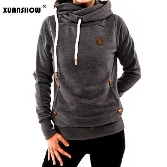 Xuanshow Winter Hoodies For Women Cotton Long Sleeve Pocket Thick Keep Warm Pullovers-Hoodies & Sweatshirts-XUANSHOW 001 Store-Dark Gray-S-EpicWorldStore.com