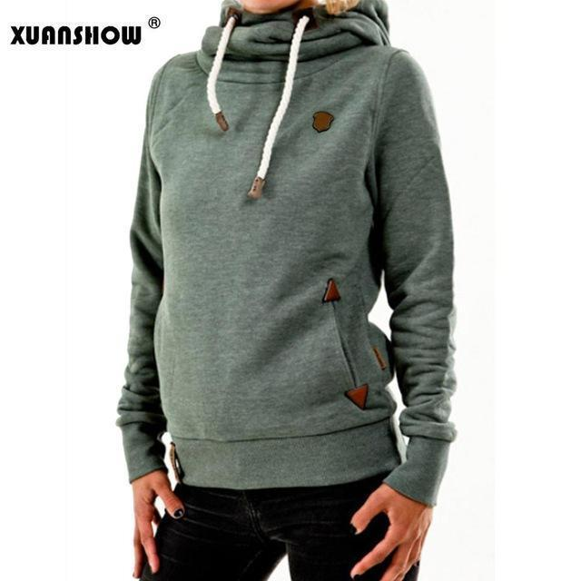 Xuanshow Winter Hoodies For Women Cotton Long Sleeve Pocket Thick Keep Warm Pullovers-Hoodies & Sweatshirts-XUANSHOW 001 Store-Green-S-EpicWorldStore.com
