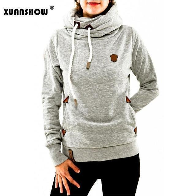 Xuanshow Winter Hoodies For Women Cotton Long Sleeve Pocket Thick Keep Warm Pullovers-Hoodies & Sweatshirts-XUANSHOW 001 Store-Light gray-S-EpicWorldStore.com