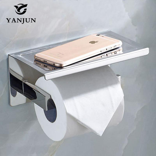 Yanjun Sanitary Paper Toilet Paper Holder With Phone Shelf Self Adhesive Roll Dispenser Bathroom-yanjun Official Store-EpicWorldStore.com