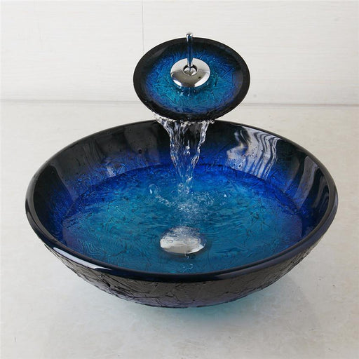 Yanksmart Bathroom Waterfall Washbasin Lavatory Tempered Blue Painting Glass Basin Sink Combine-Bathroom Sinks-YANKSMART Official Store-EpicWorldStore.com