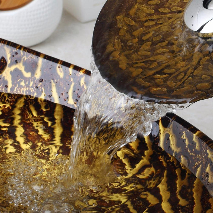 Yanksmart Brown Leaf Tempered Glass Basin Sink Washbasin Faucet Set ...