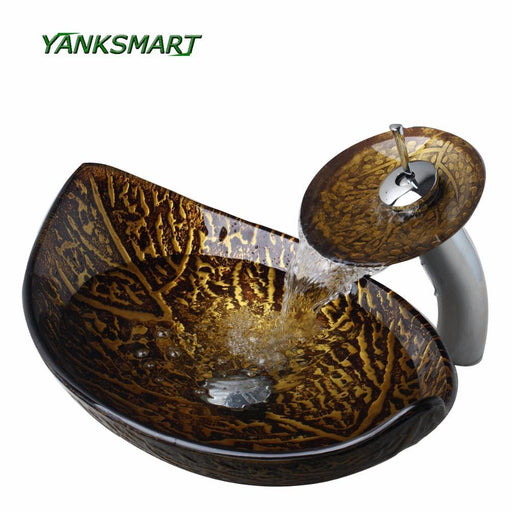 Yanksmart Brown Leaf Tempered Glass Basin Sink Washbasin Faucet Set Counter Top Washroom Vessel-Bathroom Sinks-YANKSMART Profession Store-EpicWorldStore.com
