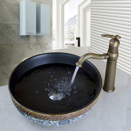 Yanksmart Ceramic Washroom Basin Vessel Vanity Sink Bathroom Mixer Basin Washbasin Brass Faucet-Bathroom Sinks-YANKSMART Profession Store-EpicWorldStore.com