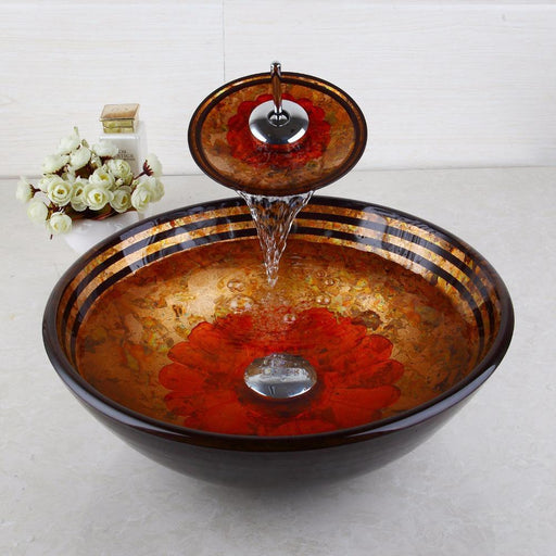 Yanksmart Red Flower Tempered Glass Basin Sink Washbasin Faucet Set Counter Top Washroom Vessel-Bathroom Sinks-YANKSMART Profession Store-EpicWorldStore.com