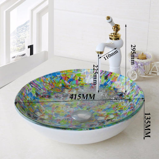 Yanksmart Round Glass Artist Washroom Basin Vessel Vanity Sink Bathroom Washbasin Ceramic Golden-Bathroom Sinks-YANKSMART Profession Store-EpicWorldStore.com