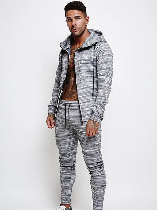 Yemeke Spring Sport Suits Men Fitness Tight Hoodies Joggers Sweatpants Sets Gym Jogging Tracksuits-Mens Sets-Jocelyn Katrina Official Store-broken color gray-M-EpicWorldStore.com