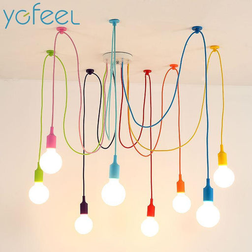 [Ygfeel] Modern Colorful Pendant Lights Dining Room Living Room Pendant Lamp Indoor Decoration-Ceiling Lighs & Fans-ygfeel Store-All Black-4 Arms-EpicWorldStore.com