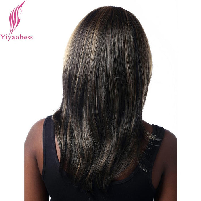 Yiyaobess 40cm Straight Dark Brown Highlights On Hair Heat Resistant
