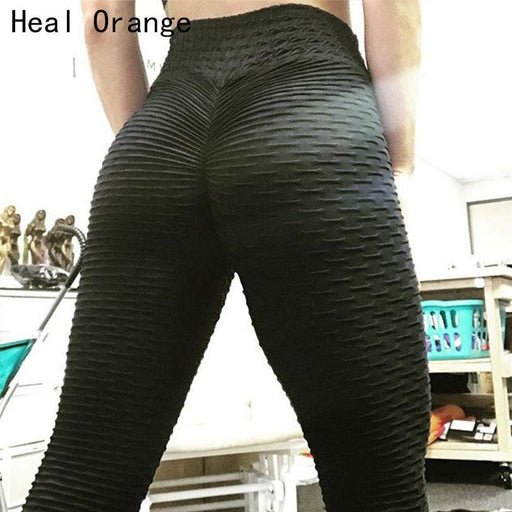 Yoga Pants Womens Ruched Butt Leggings Push High Waist Workout Sport Tights Running Trousers-Heal Orange Official Store-Black-S-EpicWorldStore.com