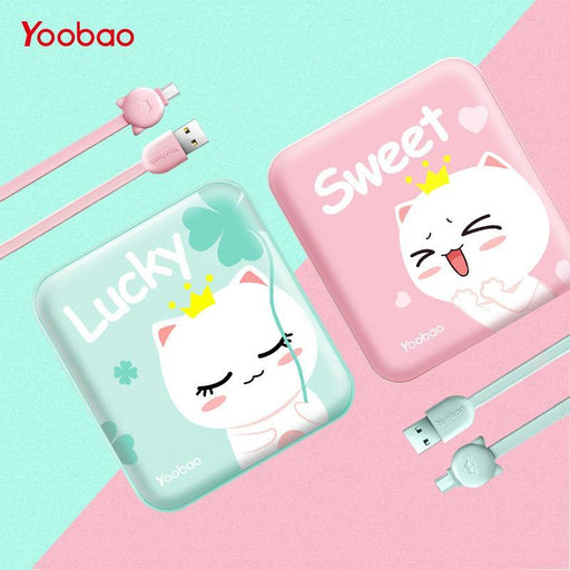 Yoobao Cute Powerbank 10000Mah For Xiaomi Redmi Mi Power Bank Portable Charger 10000 Mah Poverbank-Power Bank-PisenYoobao Store-pink cat-EpicWorldStore.com