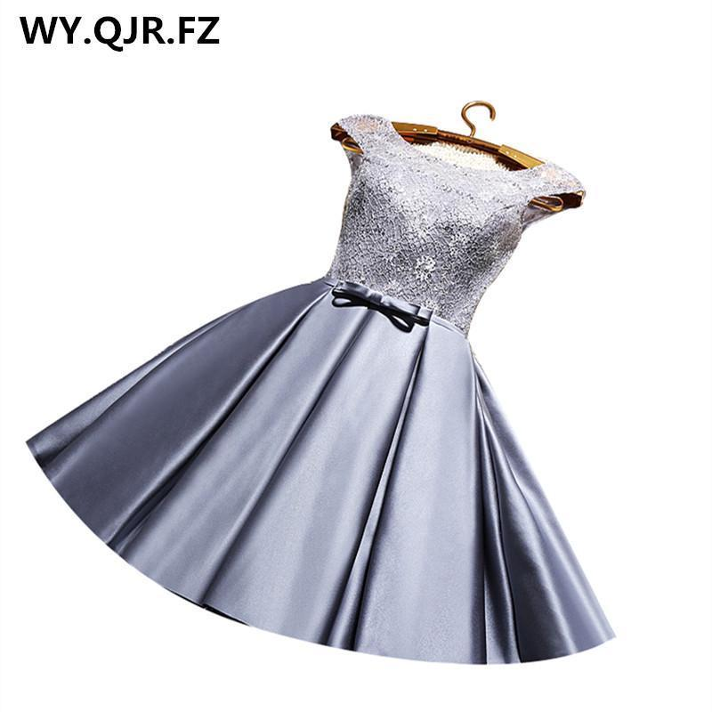 Yrpx#Lace Up Grey & Wine Red Short Bridesmaid Dresses Plus Size New Spring  Summer Wedding Party