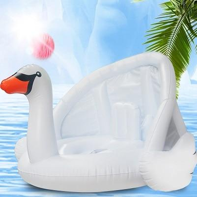 Yuyu New Baby Pool Float With Awning Inflatable Flamingo Swan Swimming Float Baby Seat Float-Swimming Rings-Dsummer Store-Swan-EpicWorldStore.com