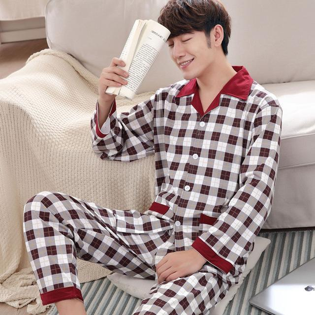 Yuzhenli Autumn Pyjamas Men Print Casual Plus Size Cotton Sleepwear Mens  Lounge Wear Loungewear