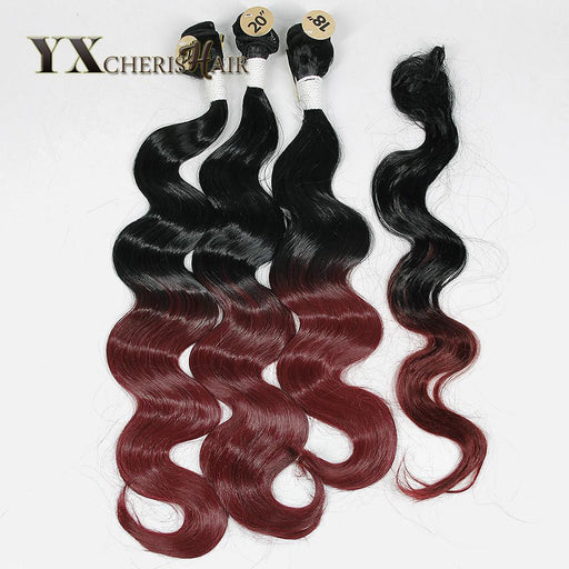 Yxcherishair Brazilian Body Wave 3 Bundles With Lace Closure Ombre Natural Color Synthetic Weave-YXCHERISHAIR Official Store-#1-EpicWorldStore.com