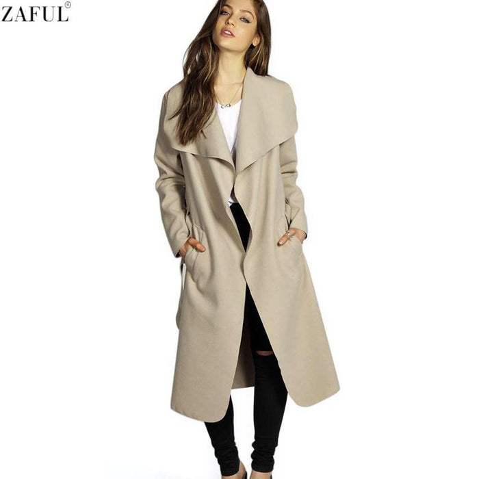 Zaful Winter Coat Women Wide Lapel Belt Pocket Wool Blend Coat Oversize Long Red Trench Coat-Jackets & Coats-Mezone-Black-M-EpicWorldStore.com