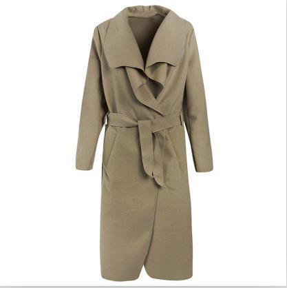 Zaful Winter Coat Women Wide Lapel Belt Pocket Wool Blend Coat Oversize Long Red Trench Coat-Jackets & Coats-Mezone-Khaki-M-EpicWorldStore.com