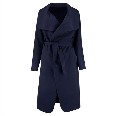 Zaful Winter Coat Women Wide Lapel Belt Pocket Wool Blend Coat Oversize Long Red Trench Coat-Jackets & Coats-Mezone-Royalblue-M-EpicWorldStore.com