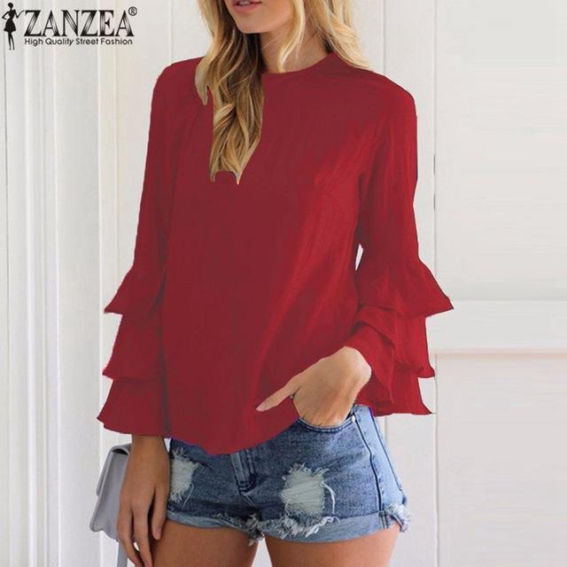 Zanzea Women Blouses Shirts Autumn Elegant Ladies O-Neck Flounce Long Sleeve Solid Blusas-Blouses & Shirts-Romeo & Juliet Clothes Store-WineRed-S-EpicWorldStore.com