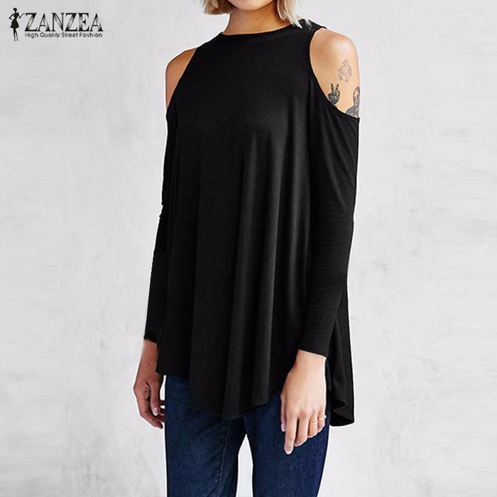 Zanzea Women Tops Autumn Blusas Ladies Stylish Tunic Off Shoulder Long Sleeve Pullover Casual-Blouses & Shirts-Romeo & Juliet Clothes Store-Black-S-EpicWorldStore.com